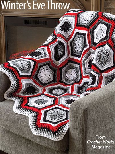 Winter's Eve Throw from the December 2016 issue of Crochet World Magazine. Order a digital copy here: https://www.anniescatalog.com/detail.html?prod_id=134203