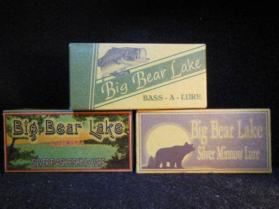 Big Bear Lake California fishing lure boxes cabin by 4YourLake, $22.50