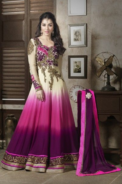 Shraddha Kapoor Suits-Purple and Cream Faux Georgette Anarkali suit with Embroidery,Resham Work and Lace Work
