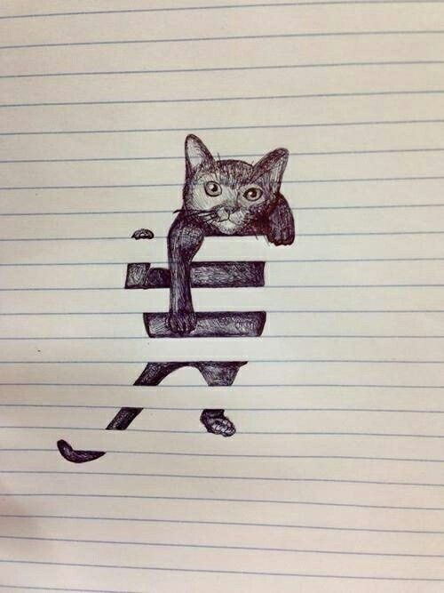 3D cat drawing on notebook paper~