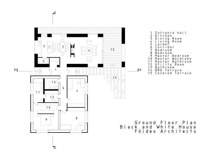 Black and White House by Földes Architects. Ground floor plan. contrast, new and old, open plan living. contemporary design