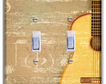 Guitar Tan Light Switch Plate Cover Decor Bedroom Bathroom Girls Boys Room Living Dinning