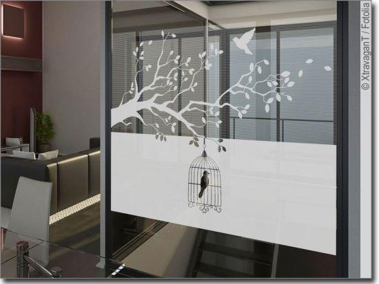 Glasbanner Herbstwind Sichtschutz glas, Fensterfolie