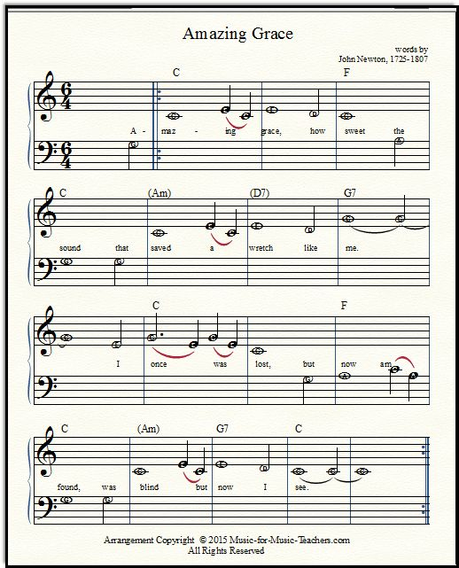 Amazing Grace Lyrics And Sheet Music: 8 Best Easy Sheet Music Images On Pinterest