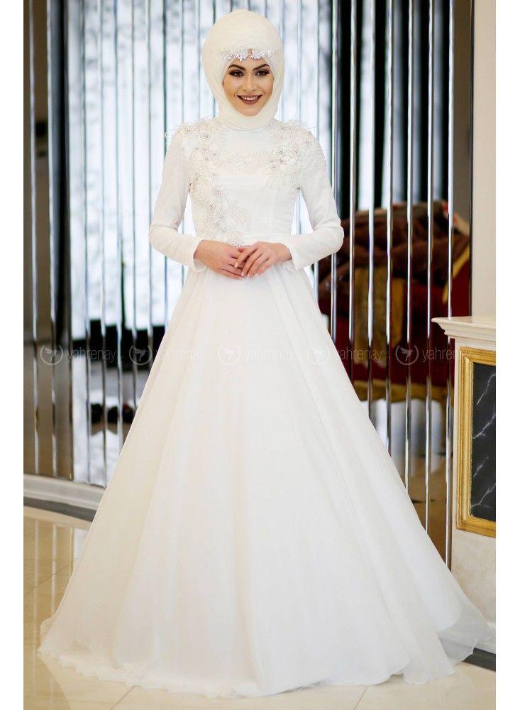 En Sik Tesettur Nikah Abiye Elbise Modelleri Abiye Ekru Minel Ask Dresses Wedding Dresses Fashion