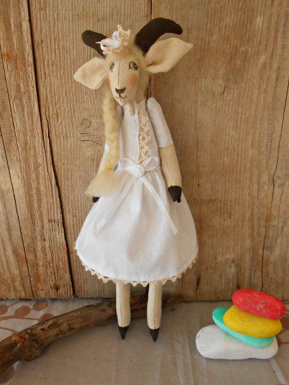 Goat doll - Goat Stuffed Animal - Organic goat doll - White goat - Organic Stuffed Animals - Handmade Stuffed Animal - Organic Toys