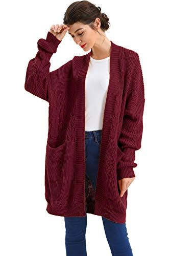 Enjoy exclusive for BodiLove Women s Boyfriend Chunky Cable Knit Oversize  Cardigan online  ca97e9ac6