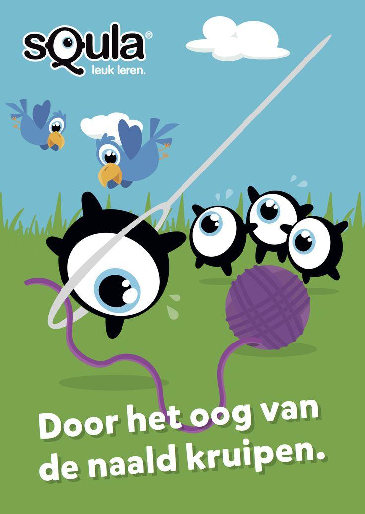 Op het nippertje ontsnappen.  Educatieve poster met Nederlandse spreekwoorden en gezegden: Door het oog van de naald kruipen.