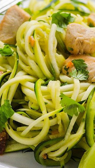 Zucchini Noodles with Cilantro Lime Chicken no cumin or peppers and it