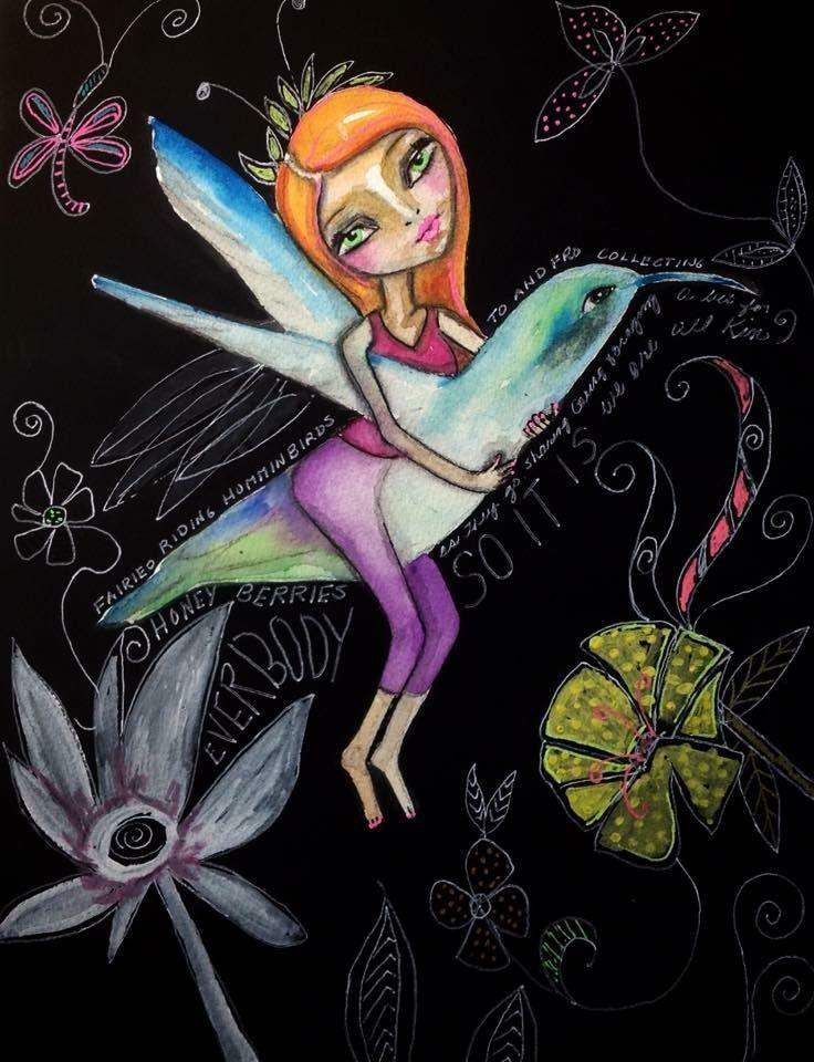 Fairies Riding a Hummingbirds by Jeanette MacDonald Art