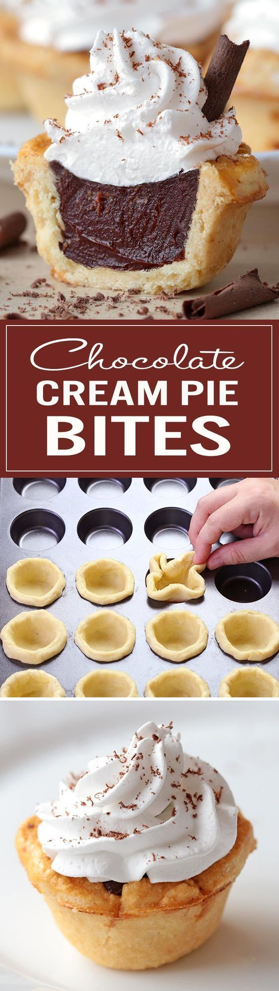 All the flavors of Homemade Chocolate Cream Pie packed into perfect bite-sized treat to share with a loved one on a special occasion – with leftovers, of course! – Chocolate Cream Pie Bites...