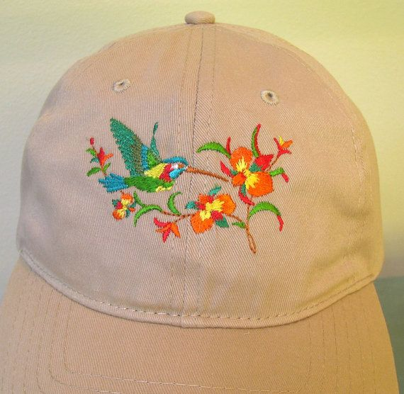 Hummingbird Embroidered on a Tan Baseball Cap.  Hummingbird and Flowers on a Baseball Cap