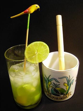 Caipirinha from Food.com:   Brazilian national drink. You can change limes for kiwis, pineapple or passion fruit, or mix them, but you may cut on sugar.