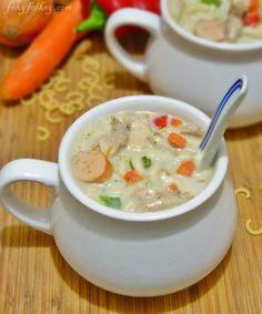 Chicken Macaroni Soup (Sopas) -Filipino version | Foxy Folksy
