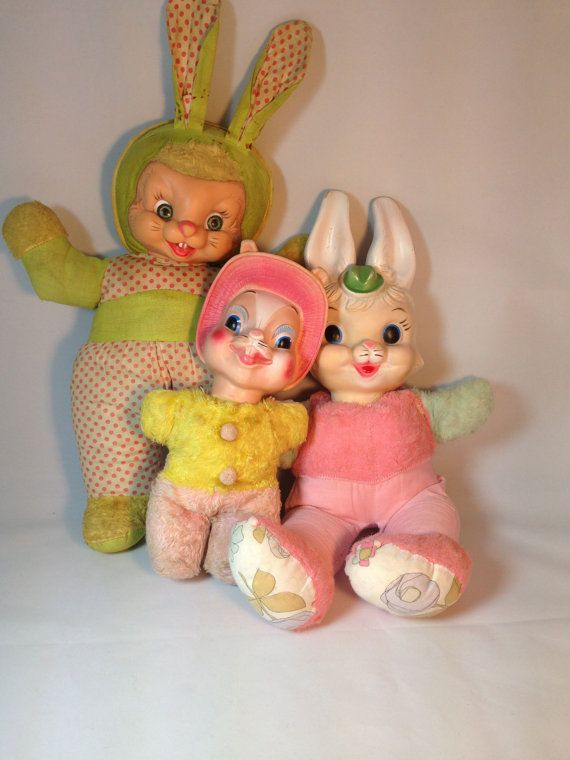 Vintage Rubber Face Bunny Lot Rabbits My Toy Co Adorable Old Collectable Toys Stuffed Bunny Animal Plush Easter Pink Yellow Green Toy