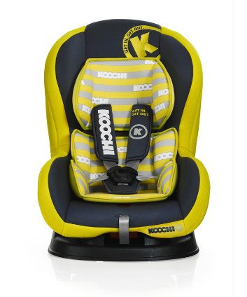 Koochi Kickstart Car Seat - Primary Yellow. Free 12 months guarantee.