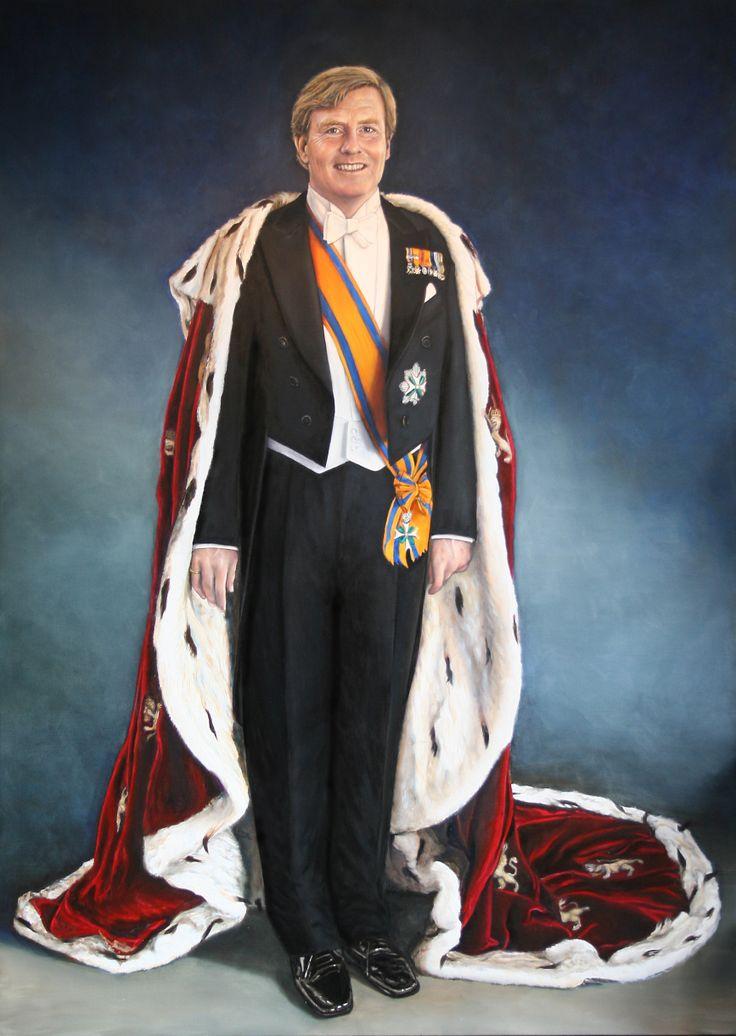 Levensgroot staatsieportret Koning Willem Alexander. Olieverf op linnen. 210/150