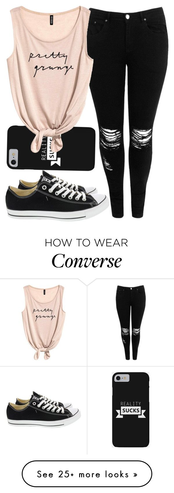 """""""Untitled #135"""" by iouzzani on Polyvore featuring Boohoo and Converse"""