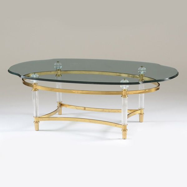 Contemporary Oval Glass Coffee Table On Brass Tone Metal Base