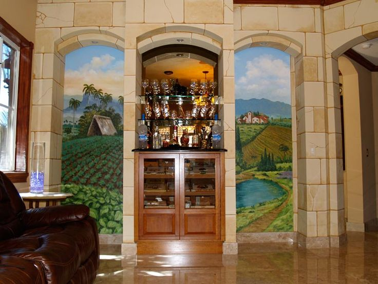 Attractive Landscape Murals Made For A Residential Bar. Awesome Design