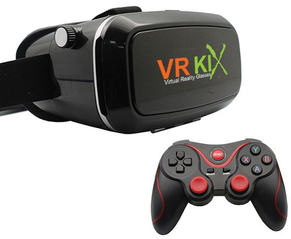 VRKiX Virtual Reality Headset for Smartphones with Bluetooth Controller (Charcoal)