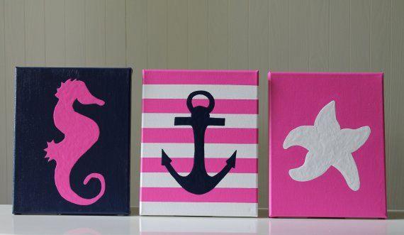 baby girl nautical decor! Seahorse, anchor, and starfish. Navy and pink.