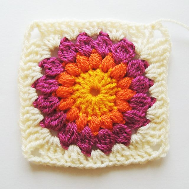 Sunburst Granny Square Blanket Tutorial pattern
