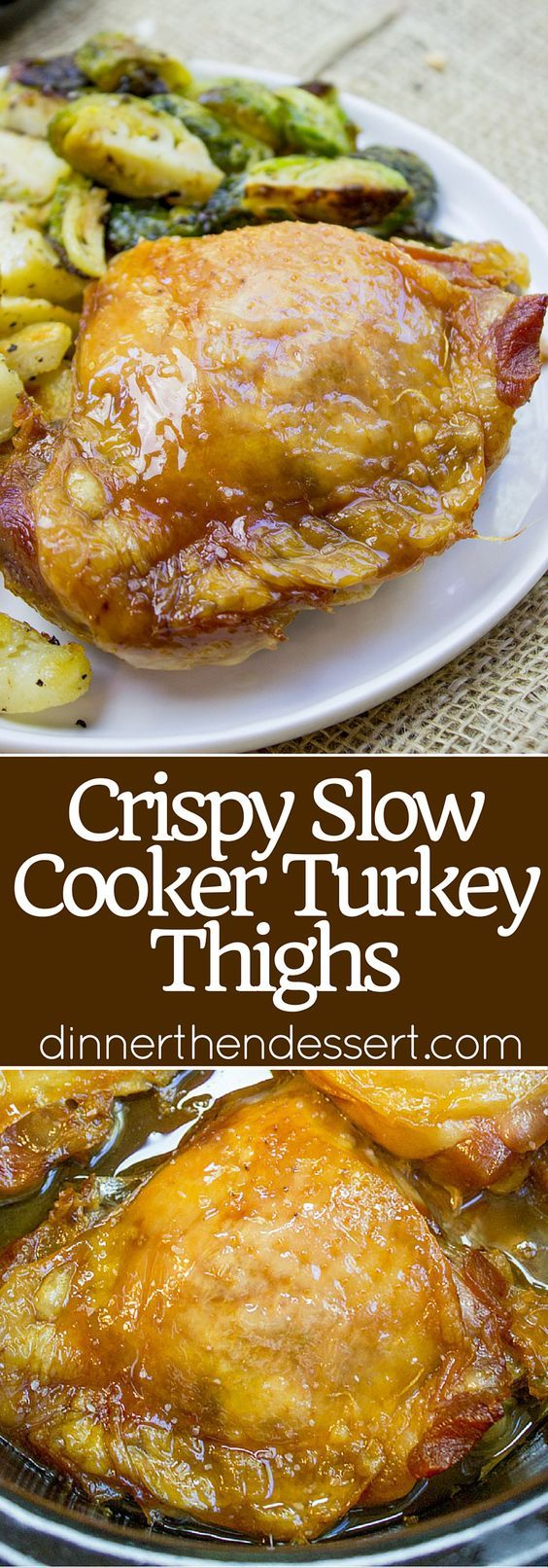 Crispy Slow Cooker Turkey Thighs are juicy, crispy, tender and a total breeze to make on a weeknight! Also includes 10 different ways to add different flavors with almost no effort! @eatturkey #ad