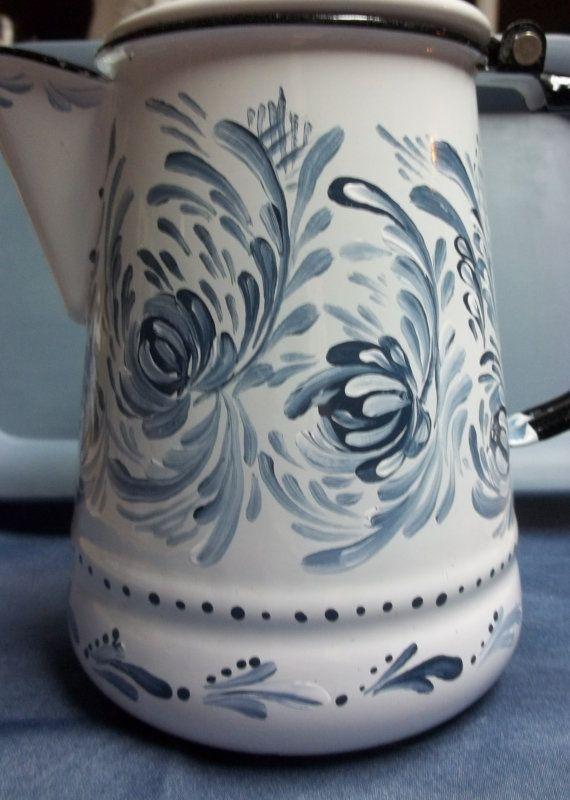 A Vintage White Enamelware Coffee Pot Hand by FolkArtByNancy, $55.00