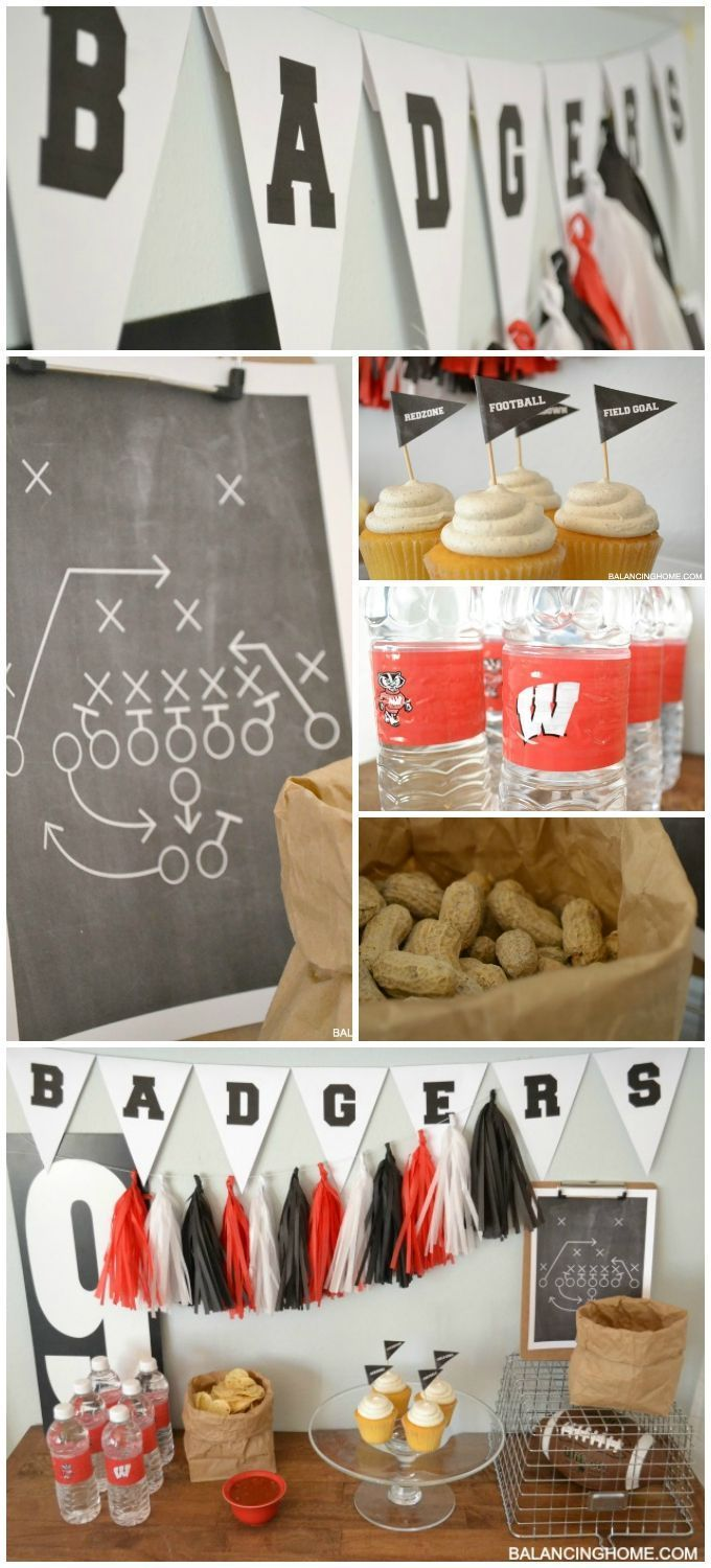 FOOTBALL PARTY PRINTABLES! Printable bunting in every letter to print off your team's name. Cupcake toppers and play printable. Simple entertaining tips for serving up a special game day!