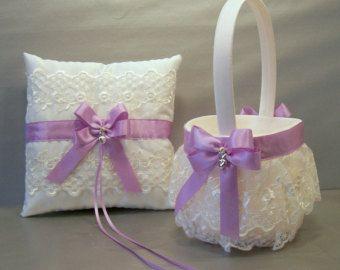 Plum Purple Wedding Bridal Flower Girl Basket and by evertonbridal