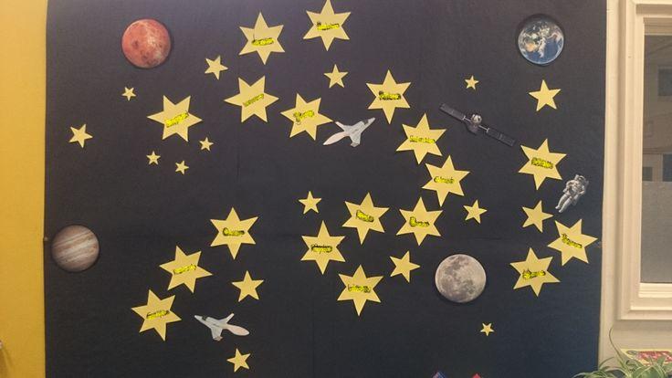 Themaposter - 'De sterren van groep 8'!!! Op de sterren staan de namen van de leerlingen! Poster voor het thema ruimte/ruimtevaart.