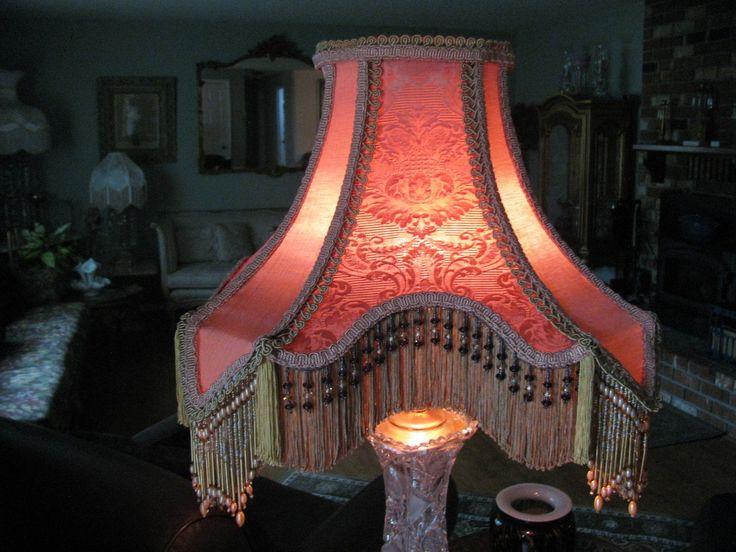 "Victorian French Large Lamp Shade ""Rose Gold "" Bead Fringe Tassels Nice   eBay"