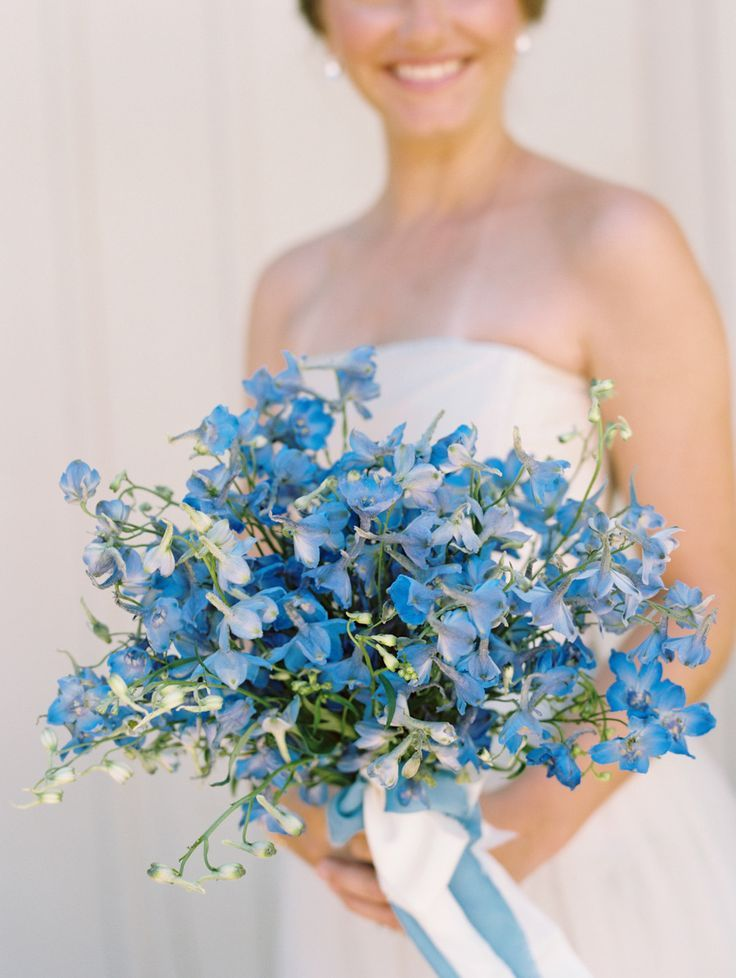 Beautiful blues wedding bouquet / http://www.deerpearlflowers.com/45-pretty-pastel-light-blue-wedding-ideas/
