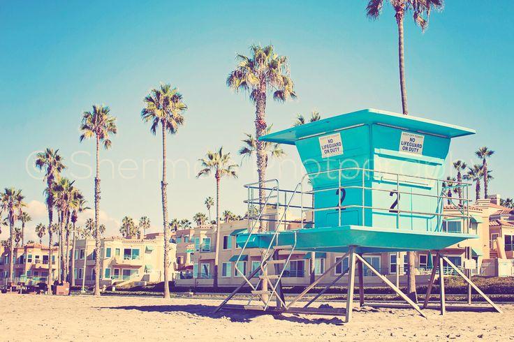 Retro Surf Photo - Surfer Ocean - Blue Palm Tree - Lifeguard Stand Art - California Dreaming  Oceanside Photography - California beach Photo by LilBitsOfLight on Etsy https://www.etsy.com/listing/255856820/retro-surf-photo-surfer-ocean-blue-palm
