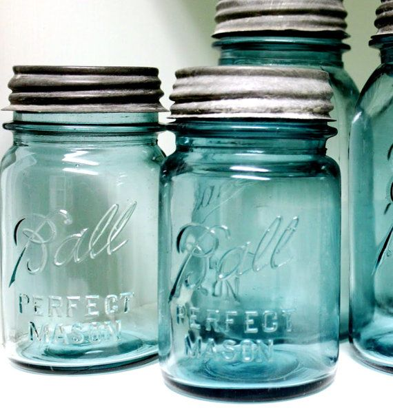 "Mason Jar, Antique Blue Ball Jar, Pint Size, ""Ball Perfect Mason"", Vintage Canning Jar on Etsy, $9.00"