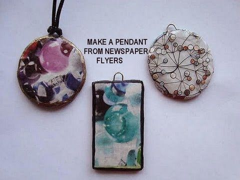 MAKE A ROUND PENDANT FROM NEWSPAPER FLYERS, recycle project, paper beads