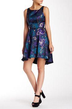 ABS by Allen Schwartz Square Neck Printed Hi-Lo Dress