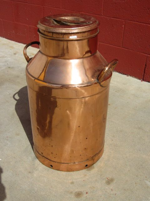 French Antique Copper Milk Can Cream Can Antique Dairy ...