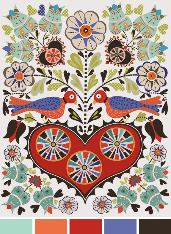 Inspiração do dia #diacomcaradeprimavera ~ birds in Pennsylvania Dutch folk art are called distelfinks