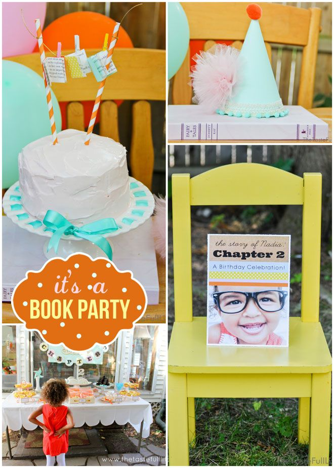 """Chapter 2″ Book Themed Birthday Party: darling mini books hanging on the cake topper"