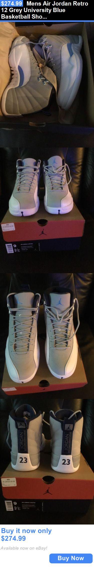 Basketball: Mens Air Jordan Retro 12 Grey University Blue Basketball Shoes Size 9 BUY IT NOW ONLY: $274.99