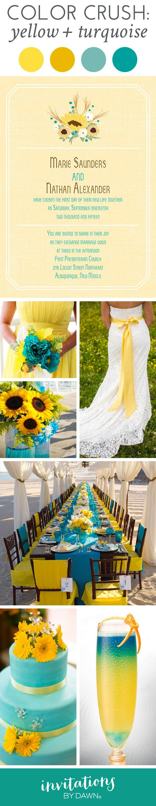 Wedding Color Crush: Yellow and Turquoise