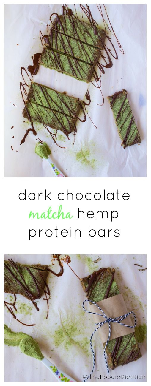 The perfect homemade protein bar for on-the-go! A nutrition-packed snack, dark chocolate matcha hemp protein bars are made with real ingredients and loaded with antioxidants, fiber, and protein. | @TheFoodieDietitian #ad