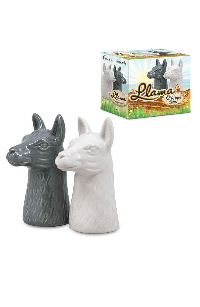 Llama Salt & Pepper Shakers Set | animal horse lama porcelain retro vintage ceramic | Yellow Octopus
