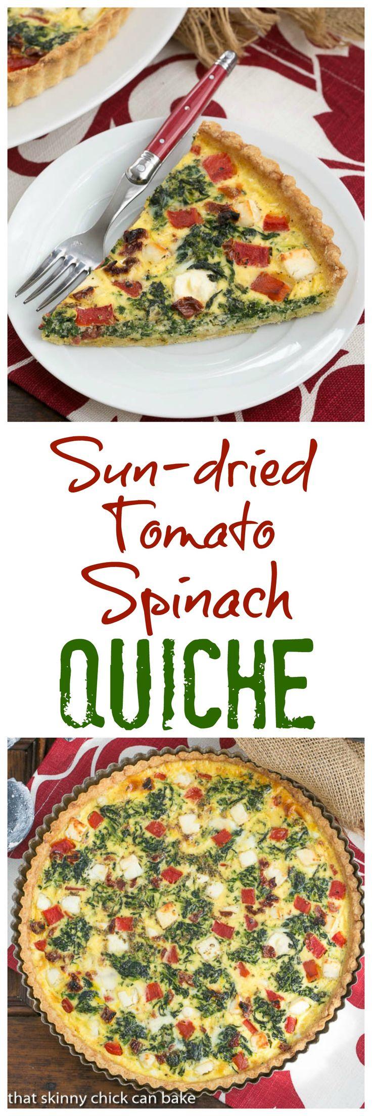 Sun-dried Tomato and Spinach Quiche | A memorable Mediterranean Quiche @lizzydo
