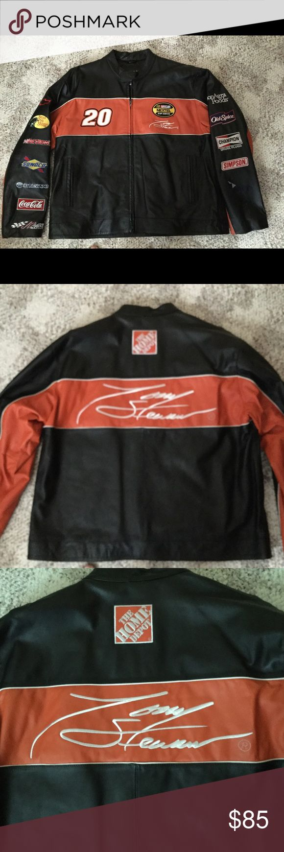 Men's leather NASCAR Tony Stewart jacket Medium weight leather Tony Stewart NASCAR jacket.  Quilted inside with pocket, 2 slash pockets on front.  Brand new with no tags from a smoke free home. Wilson Jackets & Coats