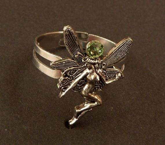 Zarter Elfen Ring in silber grün Fantasy Schmuck Fee Ring