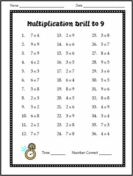 Free Multiplication Drill Test - use with students at the beginning of the year to assess math fact knowledge