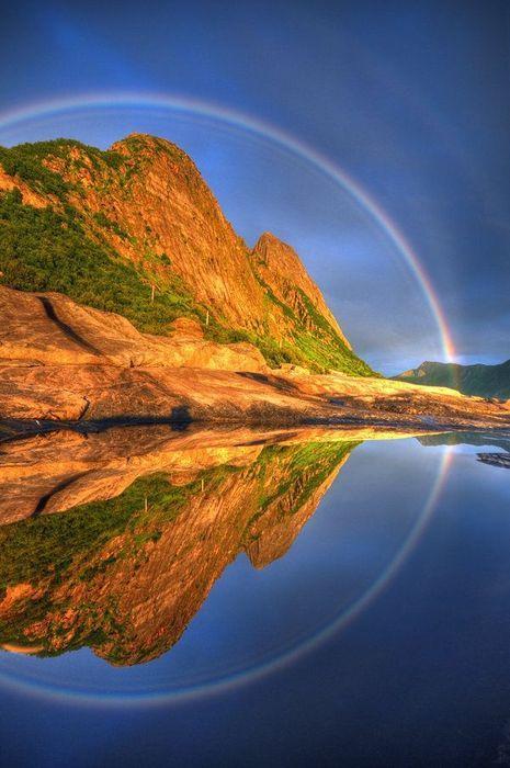 Full Circle Reflected Rainbow, Senja, Troms, Norway photo By seffis